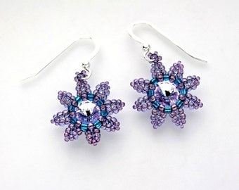 Beaded Flower Earrings, Purple and Aqua Blue Seed Beads, Swarovski Crystal, and Sterling Silver