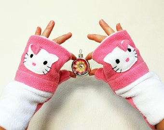 Kitty Fingerless Gloves with Pockets Pink White