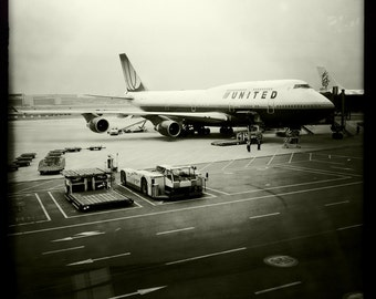 United Boeing 747 Parked at Gate Beijing Airport in Snow, Airline Decor, Aviation, 10x10 Photograph, Aircraft, Airplane