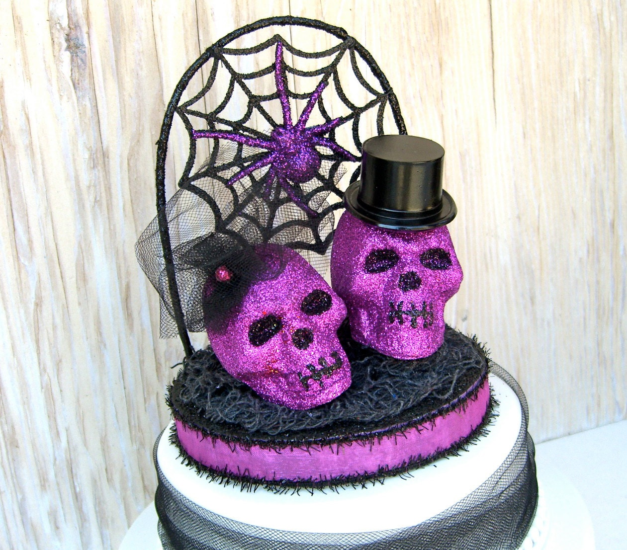 Halloween Wedding Cake Topper Skulls OOAK Black and