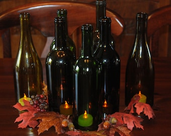 Set of 7 Hand Cut Wine Bottle Hurricane Candles- Perfect for the Fall Table/Wedding