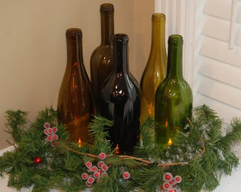 Set of 5 Hand Cut Wine Bottle Hurricane Candles- Perfect for the Holiday Table