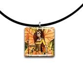 Fall fairy, Golden Autumn, Fantasy art pendant, yellow and orange