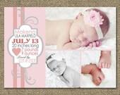 Baby Birth PHOTO Announcement, Girls DESIGN Peach & Swirls, Personalized Baby Shower Invite, Photo Birth Card Girls - Printable DIY