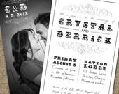 Black & White Wedding Invitation Set, Optional Photo Back, Decorative Type - Printable DIY