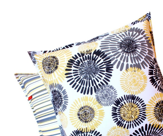 Yellow Gray Pillow 16x16 - Stripes Back Grey Yellow