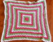 Granny Square Baby Afghan (pink, lime green, white)