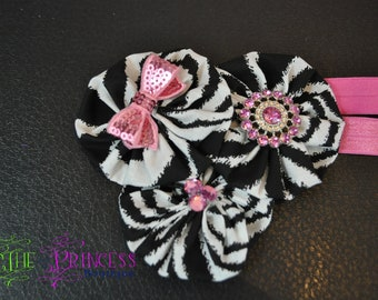 Zebra and pink yoyo cluster headband , zebra headband , headband , toddler headband , infant headband