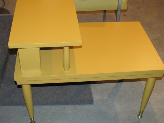 "RESERVED for Kelly: Mersman step-end table Eames Mid Century Danish Modern Modern us-scaled in ""Yellow Squash"""