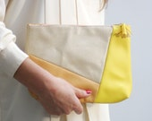 S H E L L / Beige / Yellow /Brown leather clutch