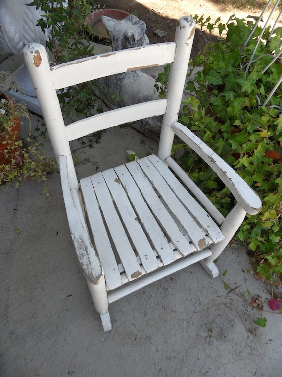 Sweetest White Chippy Shabby Chic Childrens Rocking Chair