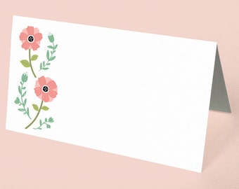 Flower Place Cards, Bridal Shower Place Cards, Floral Place Cards, Cute Place Cards, Shower Seating Assignment Card, Flower Place Cards