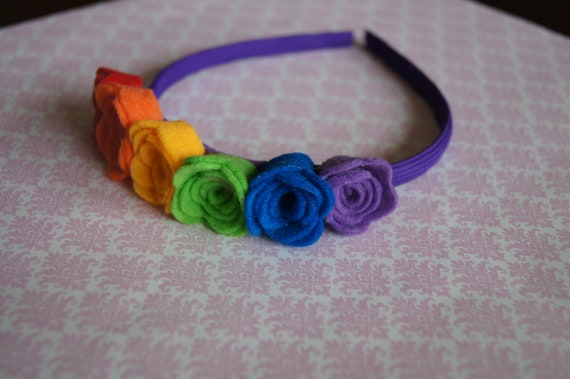 Rainbow Headband, Rainbow Felt Flower Headband, Rainbow Hair Accessory, Rainbow Flowers