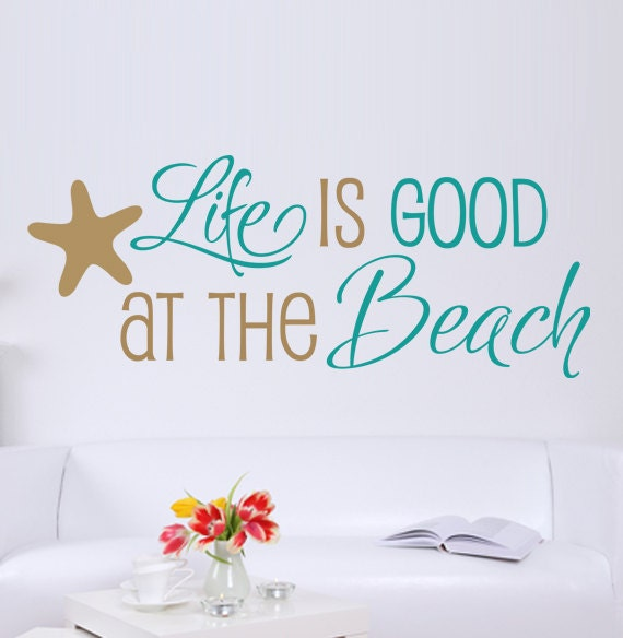 Items similar to life is good at the beach quote vinyl for Beach wall mural decals