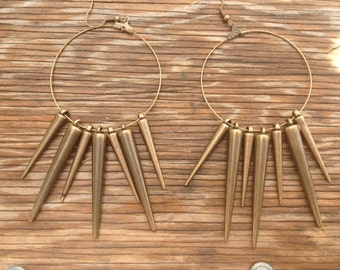 Spiked Brass Hoop Earrings