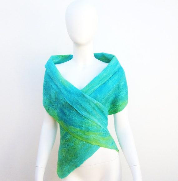 Sea Green Silk Merino Wrap Aqua Wool Vest Blue Green Nuno Felt Scarf