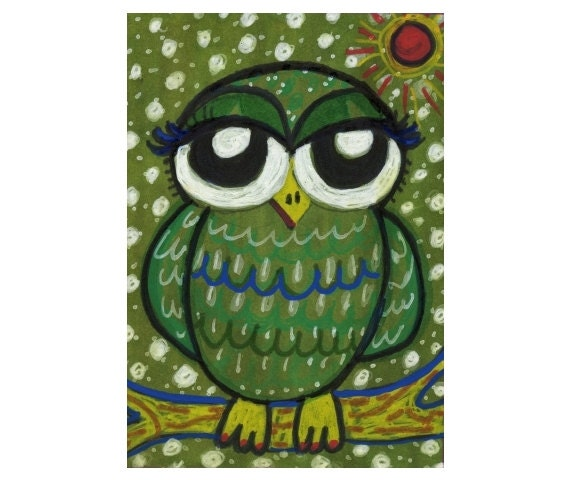 Owl Print, Owl Poster, Girls Room Decor, Kids Wall Art,Green And White, Boys Room Decor, Nursery Room Print, Little Green Owl by Paula DiLeo