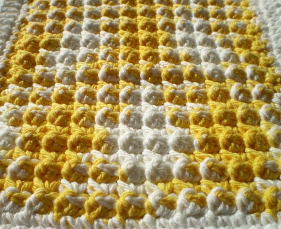 Crochet Cotton Dish Cloth Star Burst Design- Hand Made, Cotton Yarn - Bright Yellow and White