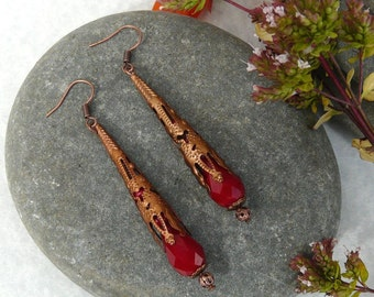 Earrings Gothic Copper Red Crystal Free Worldwide Shipping