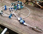Electric blue lampwork and crystal beaded lanyard