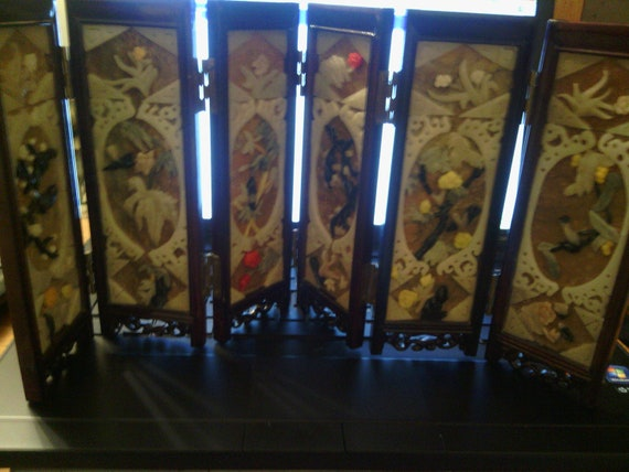 Vintage Asian Chinese 6 Panel TableTop Screen Mother of Pearl