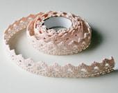 Peach, Decorative Self Adhesive fabric Crochet tape, trim 2.5 YARDS