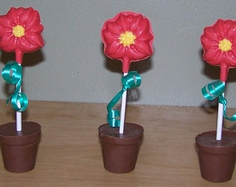 Chocolate Flowers - Edible Flower - Poinsettia Flower - Christmas Party Favors