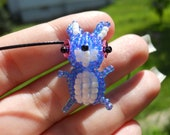 25% Off SALE Blue Rabbit Easter Seed Bead Beaded Bead Pendant Necklace