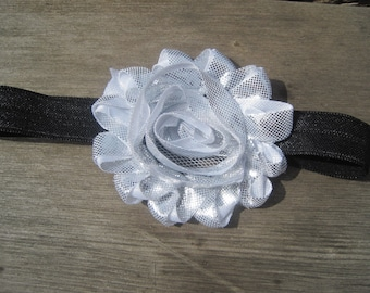 SALE, Silver Headband, Baby Headband, Baby Girl Headband, Baby Bow, Infant Headband, Infant Bow, Newborn Headband, Newborn Bow