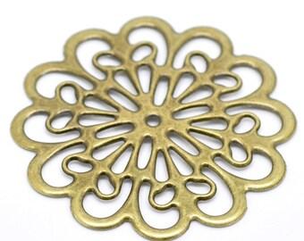 4pc antique bronze 6cm metal filigree center piece/wraps-5612