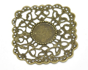 8pc antique bronze 4.3x4.3cm metal filigree center piece/wraps-5638