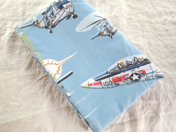 1980s Afterburner Planes and Helicopters - Single or Twin Flat Vintage Sheet - Childrens Sheet