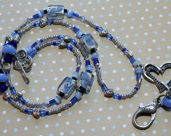 O O A K - Convertible Beaded Necklace Lanyard ID Badge Holder - LOVE is BLUE - CV102