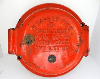 Vintage fire alarm pull station, firebox, Manteno State Hospital, vintage fire rescue, Holtzer-Cabot