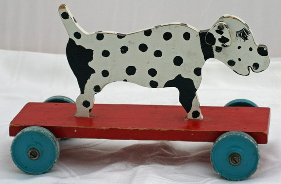 Vintage Wooden Dalmation on Wheels