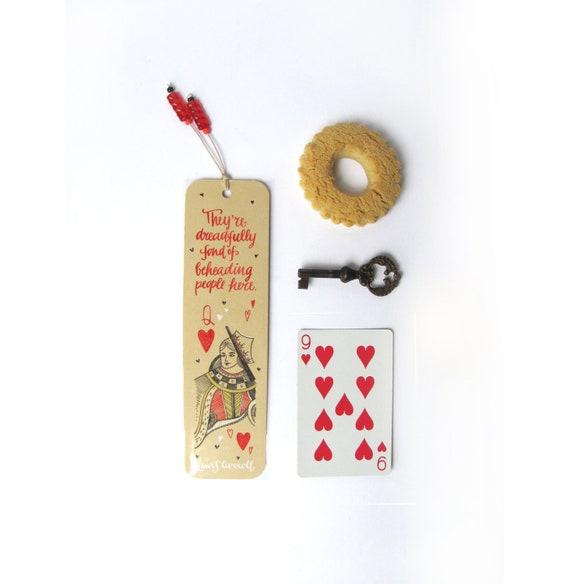 Alice in wonderland, vanilla bookmark, with handwritten calligraphy - queen of hearts