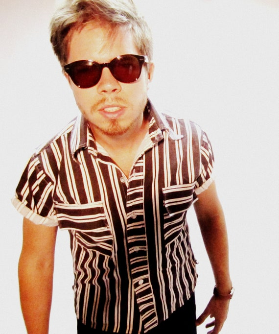 Mens 80s Stripe Punk/Rockabilly B&W Shirt