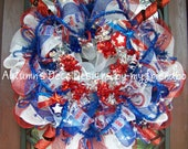 Firecracker Stars Bright Metallic Patriotic 4th of July Deco Mesh Wreath