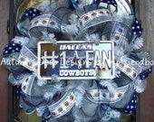 Dallas Cowboys Number 1 Fan Football Deco Mesh Wreath