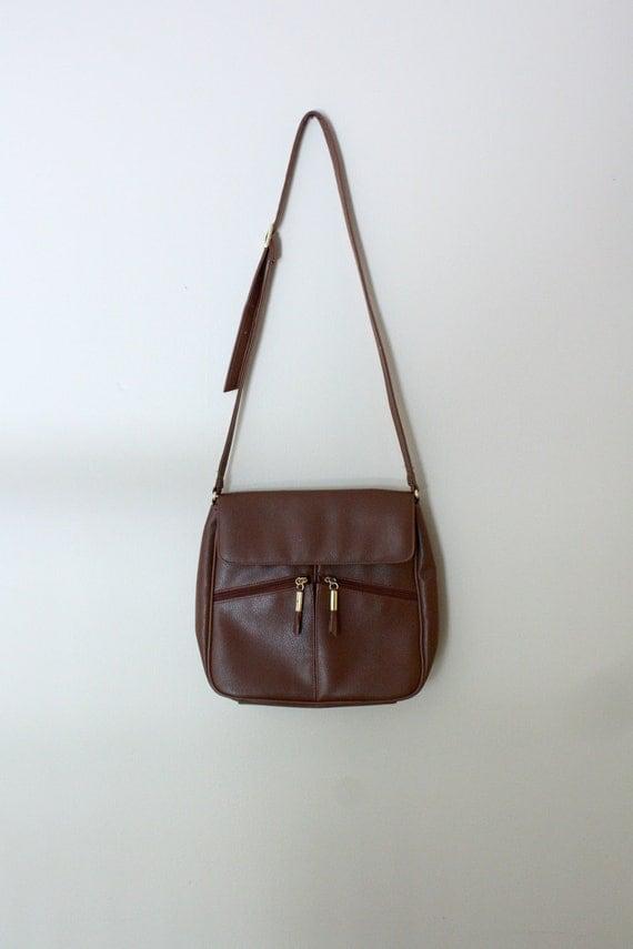 Brown Leather Tasseled Crossbody Purse