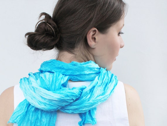 turquoise silk scarf Deep Ocean Blue -  deep blue, light blue, turquoise, ocean silk scarf.