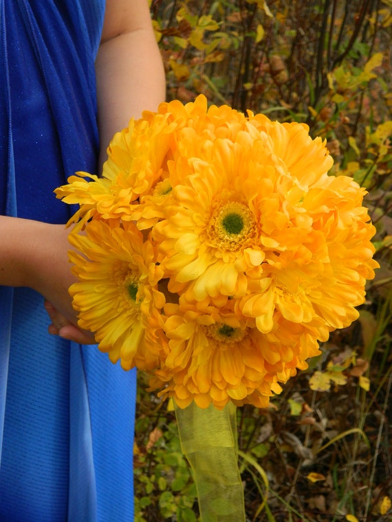 Yellow Gerbera Daisy Bouquet,  Package, bride, bridesmaids bouquets, flower girl / toss, artificial wedding bouquets, budget, rustic