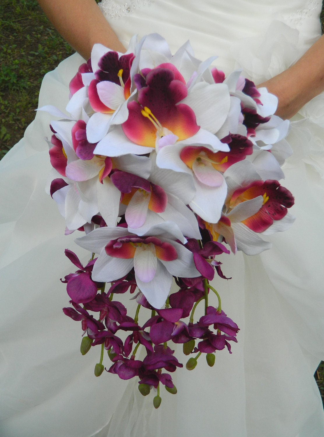Wedding Bouquet Orchid Ideas : Orchid bouquet cascade sale purple plum lavender white