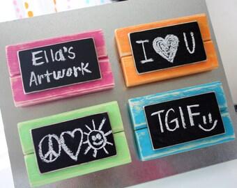 Mini Frame Chalkboard Magnets - Distressed Wood - Set of 4 - Summer Colors - Pink, Orange, Green, Blue