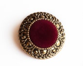 8 Vintage, Round Gold Tone Plastic Shank Buttons, Beautiful Design, with a Burgundy Velvet Center.  Item 0468