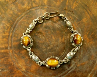 India Tiger Eye and Silver Bracelet.