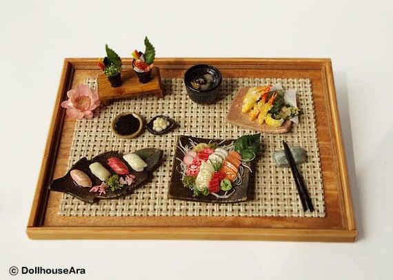 Sushi, Sashimi (No.6) Maki Japanese food sets-Handcraft Dollhouse Miniatures 1/12