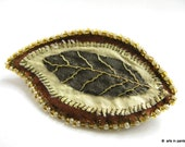Autumn leaf brown and green silk brooch- textile jewellery