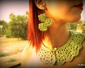 Green and gold crochet earrings