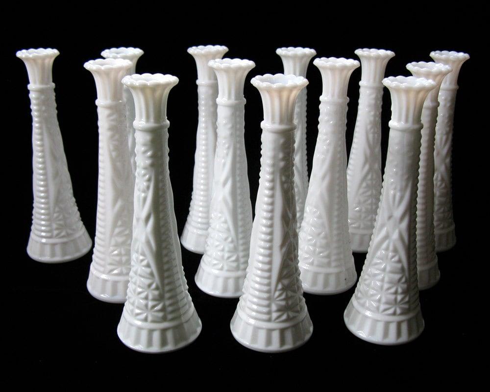 vintage milk glass bud vase matching set of 13 wedding. Black Bedroom Furniture Sets. Home Design Ideas